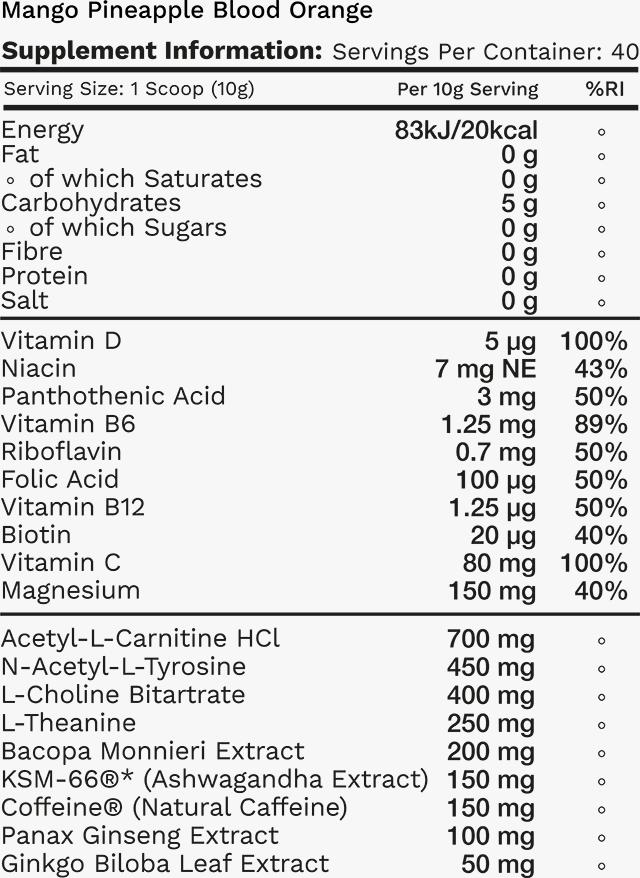 Mango Pineapple Blood Orange Tub Nutritional Table